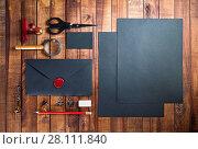 Купить «Black stationery set», фото № 28111840, снято 13 июля 2020 г. (c) easy Fotostock / Фотобанк Лори