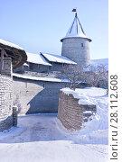 Купить «Псковская крепость, старинное оборонительное сооружение», фото № 28112608, снято 21 февраля 2018 г. (c) Parmenov Pavel / Фотобанк Лори