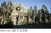 Купить «Unusual impressive building of Ideal Palace (Palais Ideal), landmark of French town of Hauterives», видеоролик № 28112936, снято 7 декабря 2017 г. (c) Яков Филимонов / Фотобанк Лори