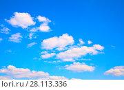 Купить «Blue sky with clouds background», фото № 28113336, снято 16 августа 2017 г. (c) Роман Сигаев / Фотобанк Лори