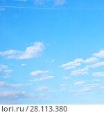 Купить «White clouds in spring sky», фото № 28113380, снято 13 мая 2017 г. (c) Роман Сигаев / Фотобанк Лори