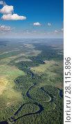 Купить «Forest plain with river», фото № 28115896, снято 20 июня 2017 г. (c) Владимир Мельников / Фотобанк Лори