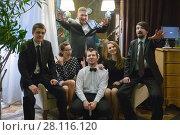 Купить «Music band of six people (two women, four men) poses on armchairs in club», фото № 28116120, снято 18 февраля 2017 г. (c) Losevsky Pavel / Фотобанк Лори