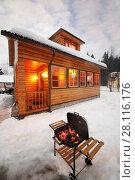 Купить «Barbecue stove with burning coals at winter evening near cottage», фото № 28116176, снято 24 февраля 2017 г. (c) Losevsky Pavel / Фотобанк Лори