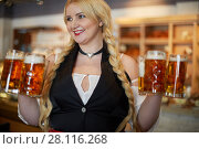 Купить «Portrait of smiling blonde woman stands holding several glass mugs with beer in both hands», фото № 28116268, снято 1 ноября 2016 г. (c) Losevsky Pavel / Фотобанк Лори