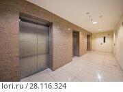 Купить «Empty white hall with metal elevator doors in modern building», фото № 28116324, снято 4 ноября 2016 г. (c) Losevsky Pavel / Фотобанк Лори