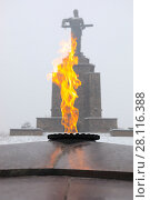 Купить «YEREVAN, ARMENIA - JAN 05, 2017: Eternal fire and Mother Armenia monument out of focus among at winter overcast day», фото № 28116388, снято 5 января 2017 г. (c) Losevsky Pavel / Фотобанк Лори