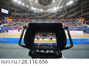 Купить «MOSCOW - JAN 27, 2017: Camera display at basketball game CSKA (Moscow) - Anadolu Efes (Istanbul) in Megasport stadium», фото № 28116656, снято 27 января 2017 г. (c) Losevsky Pavel / Фотобанк Лори