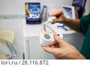Купить «Doctor hands with plastic model of human jaw and electrical toothbrush», фото № 28116872, снято 19 октября 2016 г. (c) Losevsky Pavel / Фотобанк Лори