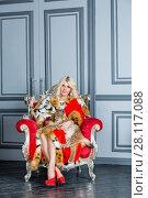 Купить «Young blonde woman in red cloak sits in armchair playing with lynx cub», фото № 28117088, снято 14 ноября 2015 г. (c) Losevsky Pavel / Фотобанк Лори