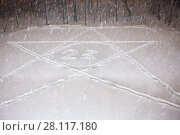 Купить «Big star with number 23 inside on the snow at evening courtyard during snowfall», фото № 28117180, снято 22 февраля 2016 г. (c) Losevsky Pavel / Фотобанк Лори