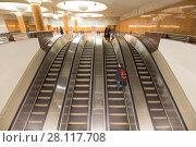Metro station Park Pobedy-- Moscow Metro, Russia.It is on two lines: Arbatsko-Pokrovskaya and Kalininsko-Solntsevskaya Lines.At 84 metres underground-- one of the deepest in the world (2018 год). Редакционное фото, фотограф Владимир Журавлев / Фотобанк Лори