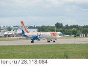Купить «Новый российский самолет Ил-114 перед взлетом на Международном авиационно-космический салоне МАКС-2017», фото № 28118084, снято 17 июля 2017 г. (c) Малышев Андрей / Фотобанк Лори