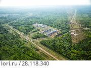 Купить «Urban panorama aerial view. Pipe Metallurgical Plant», фото № 28118340, снято 16 июня 2017 г. (c) Евгений Ткачёв / Фотобанк Лори