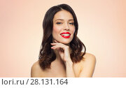Купить «beautiful smiling young woman with red lipstick», фото № 28131164, снято 5 января 2018 г. (c) Syda Productions / Фотобанк Лори