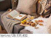 Купить «lemons, book, almond and oatmeal cookies on sofa», фото № 28131432, снято 15 ноября 2017 г. (c) Syda Productions / Фотобанк Лори
