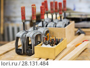 drills and woodworking tools at workshop. Стоковое фото, фотограф Syda Productions / Фотобанк Лори