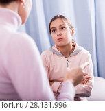 Купить «Mother reprimands her daughter», фото № 28131996, снято 26 марта 2019 г. (c) Яков Филимонов / Фотобанк Лори