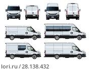 Купить «Vector vans set template isolated on white», иллюстрация № 28138432 (c) Александр Володин / Фотобанк Лори