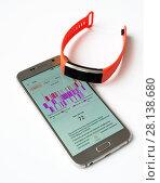 Купить «bracelet and program for monitoring sleep», эксклюзивное фото № 28138680, снято 4 марта 2018 г. (c) Володина Ольга / Фотобанк Лори
