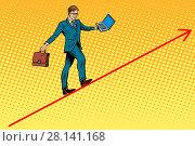 Купить «Businessman acrobat walking the wire graphics», фото № 28141168, снято 9 июля 2020 г. (c) easy Fotostock / Фотобанк Лори