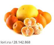 Купить «Цитрусовые фрукты (Апельсин, мандарин, минеола, памело) , изолированно на белом фоне», фото № 28142868, снято 1 января 2014 г. (c) Литвяк Игорь / Фотобанк Лори