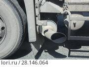 Купить «Exhaust pipe of the truck», фото № 28146064, снято 14 июня 2014 г. (c) Юрий Бизгаймер / Фотобанк Лори