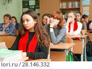 Купить «Уроки в школе», эксклюзивное фото № 28146332, снято 28 февраля 2018 г. (c) Иван Карпов / Фотобанк Лори