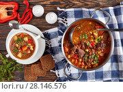 Купить «goulash or bograch soup served in a bowl», фото № 28146576, снято 27 февраля 2018 г. (c) Oksana Zh / Фотобанк Лори