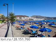 Купить «Пляж Playa del las Vistas с лежаками и синими зонтами на песке, город Лос Кристианос, остров Тенерифе, Канары, Испания», фото № 28151760, снято 1 января 2016 г. (c) Кекяляйнен Андрей / Фотобанк Лори