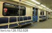 Купить «: In subway train, Moscow metro (Underground), Russia», видеоролик № 28152028, снято 10 марта 2018 г. (c) Владимир Журавлев / Фотобанк Лори