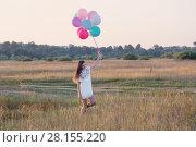 Купить «happy young women with balloons outdoor», фото № 28155220, снято 10 августа 2017 г. (c) Майя Крученкова / Фотобанк Лори