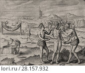 Купить «Theodor de Bry - El Dorado - Natives Indians feast.», фото № 28157932, снято 2 августа 2020 г. (c) age Fotostock / Фотобанк Лори