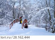 Купить «Зимний пейзаж. Свиблово. Юрловский народный парк», фото № 28162444, снято 6 февраля 2018 г. (c) Natalya Sidorova / Фотобанк Лори