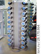 Купить «Set of small light dumbbells for women on rack in modern empty gym», фото № 28170864, снято 30 июня 2016 г. (c) Losevsky Pavel / Фотобанк Лори