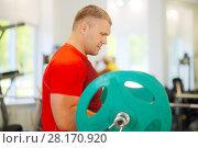 Купить «Strong man lifts barbell in modern gym with fitness equipment», фото № 28170920, снято 30 июня 2016 г. (c) Losevsky Pavel / Фотобанк Лори