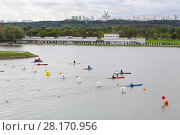 Купить «MOSCOW - SEP 4, 2016: International competitions in rowing and canoeing Cup of President of Russian Federation on Rowing channel in Krylatskoye», фото № 28170956, снято 4 сентября 2016 г. (c) Losevsky Pavel / Фотобанк Лори