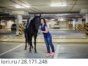 Купить «Young woman embrace horse at underground parking», фото № 28171248, снято 5 июля 2016 г. (c) Losevsky Pavel / Фотобанк Лори