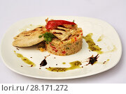 Купить «Plate with shaped boiled rice with vegetables and piece of roasted chicken», фото № 28171272, снято 7 июля 2016 г. (c) Losevsky Pavel / Фотобанк Лори