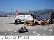 Купить «GENOA, ITALY - JUL 20, 2016: Airplane in Genoa Cristoforo Colombo Airport, Every year, 1.2 million passengers use airport services», фото № 28171832, снято 20 июля 2016 г. (c) Losevsky Pavel / Фотобанк Лори