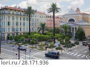 Купить «NICE, FRANCE - JUL 24, 2016: Park Esplanade de la Bourgada and buildings», фото № 28171936, снято 24 июля 2016 г. (c) Losevsky Pavel / Фотобанк Лори