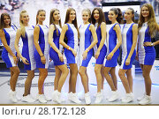 Купить «MOSCOW - OCT 1, 2016: Promo girls pose at G-Drive show Race Millennium in Sports complex Olympiysky», фото № 28172128, снято 1 октября 2016 г. (c) Losevsky Pavel / Фотобанк Лори