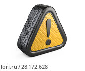 Купить «From car tyre warning attention sign with exclamation mark symbol», иллюстрация № 28172628 (c) Маринченко Александр / Фотобанк Лори