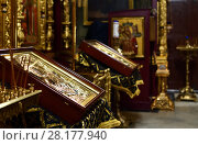 Купить «prayer iconsin Borisoglebsky male monastery in city Dmitrov, Russia», фото № 28177940, снято 10 марта 2018 г. (c) Володина Ольга / Фотобанк Лори