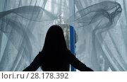 Купить «Woman throw out curtains and open window», видеоролик № 28178392, снято 20 февраля 2018 г. (c) Илья Шаматура / Фотобанк Лори