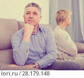 Купить «sad mature couple quarreling at home with each other», фото № 28179148, снято 24 февраля 2020 г. (c) Яков Филимонов / Фотобанк Лори