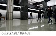 Купить «Moscow, Russia - March 17. 2018. people go to metro station Petrovsky Park», видеоролик № 28189408, снято 17 марта 2018 г. (c) Володина Ольга / Фотобанк Лори