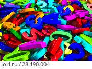 Купить «falling number on white background. Isolated 3D render», иллюстрация № 28190004 (c) Ильин Сергей / Фотобанк Лори