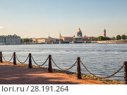 Купить «Neva River embankments on a sunny summer morning, St. Petersburg, Russia», фото № 28191264, снято 18 июля 2015 г. (c) Юлия Бабкина / Фотобанк Лори