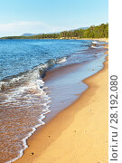 Купить «Magnificent sandy beaches on the eastern shore of Lake Baikal are bordered by a coastal  forest in the summer afternoon», фото № 28192080, снято 27 августа 2016 г. (c) Виктория Катьянова / Фотобанк Лори